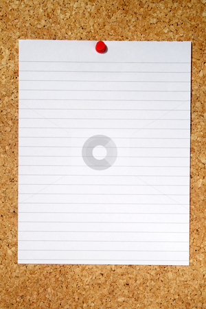 White lined paper pinned to a cork notice board. stock photo, White lined paper pinned to a cork notice board. by Stephen Rees