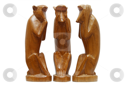 Three wise monkeys. See no evil, hear no evil and speak no evil. stock photo, Three wise monkeys.  See no evil, hear no evil and speak no evil. by Stephen Rees