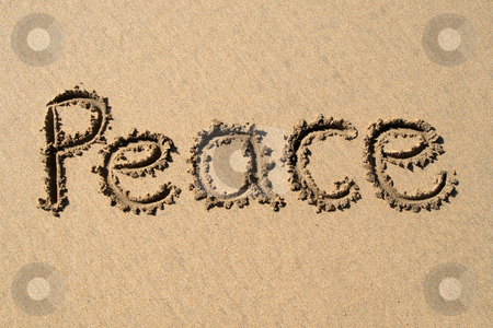 Peace, written on a sandy beach. stock photo, Peace, written on a sandy beach. by Stephen Rees