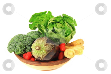 Vegetable Bowl stock photo, An assortment of vegetables in a wooden bowl by Jack Schiffer