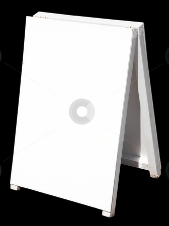 A white street sign, isolated on a black background. stock photo, A white street sign, isolated on a black background. by Stephen Rees