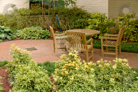 Patio stock photo, An outdoor patio in a natural setting. by Robert Byron