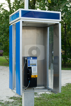 Telephone Booth stock photo, An open style telephone booth outside by Richard Nelson