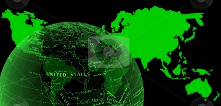 Green world map and globe stock photo,  by ZaKaRiA- MaStErPiEcE