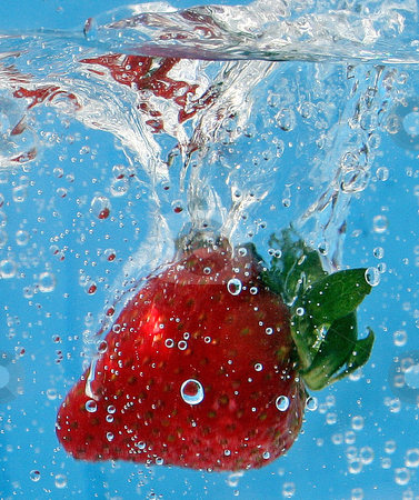 Strawberries in water stock photo, Stawberries dropped into a tank of seltzer water with natural lighting. by MIca Mulloy