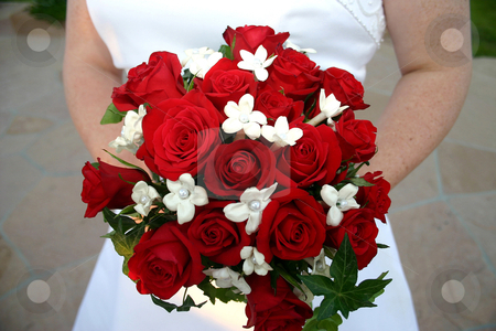 Wedding Bouquet stock photo, A red rose wedding bouquet by MIca Mulloy