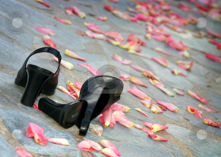 Wedding Shoes stock photo, Wedding shoes rest in the aisle by MIca Mulloy