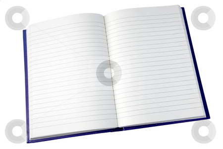 Open pages of a notebook isolated on white. stock photo, Open pages of a notebook isolated on white. by Stephen Rees