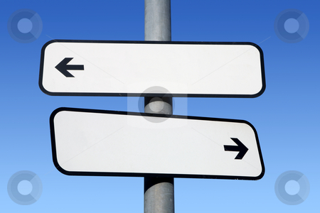 Two way blank signpost with copyspace. stock photo, Two way blank signpost with copyspace. by Stephen Rees