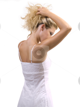 Woman back stock photo, Blond woman back on white background isolated by Adrian Costea