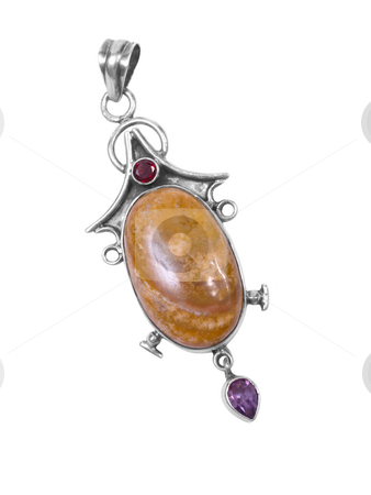 Pendant2 stock photo, Amber pendant on white isolated background by Adrian Costea