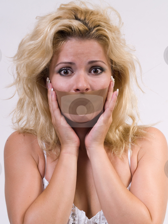 Tape covering womans mouth stock photo, Image of frightened woman with tape covering her mouth by Adrian Costea