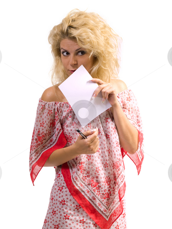 Woman hidding stock photo, Blond woman hidding behind a sheet of paper by Adrian Costea