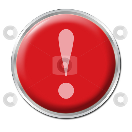 Panic Button stock photo, Red round button with the exclamation mark symbol by Petr Koudelka