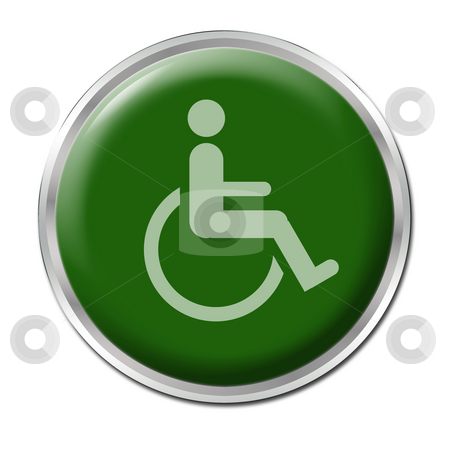 Free for Disabled stock photo, Green round button with the symbol for disabled by Petr Koudelka