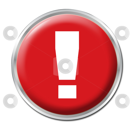 Danger Button stock photo, Red round button with the exclamation mark symbol by Petr Koudelka