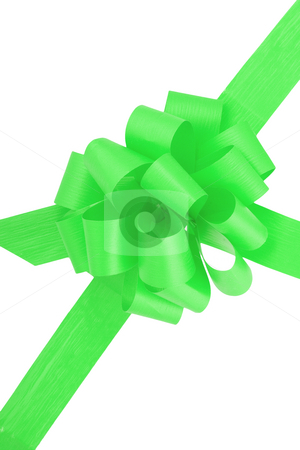 Green Ribbon stock photo, A green ribbon  isolated on the white background by Petr Koudelka