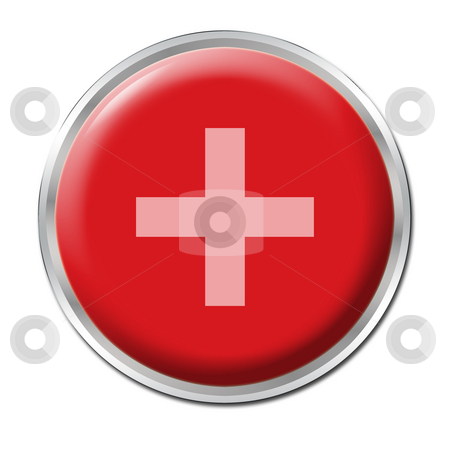 Button Plus stock photo, A round red button with a symbol plus by Petr Koudelka