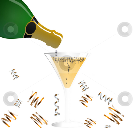 A bit of bubbly stock photo, Drawn champaign bottle and glass with bubbles by Michelle Bergkamp