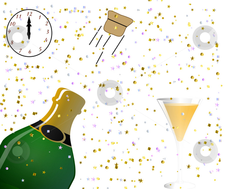 Champaign popping a cork stock photo, Drawn champaign bottle and glass with bubbles popping a cork with a wine glass by Michelle Bergkamp