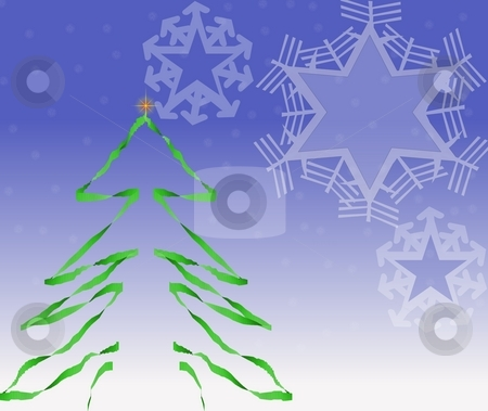 Christmas tree and snowflakes stock photo, Drawings of Christmas tree and snowflakes on a snowy background by Michelle Bergkamp