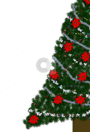 Christmas tree on White stock photo, Lower half section of  a decorated Christmas tree on white background by Michelle Bergkamp