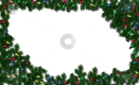 Christmas light frame background stock photo, Christmas greenery and lights framed on a white background by Michelle Bergkamp