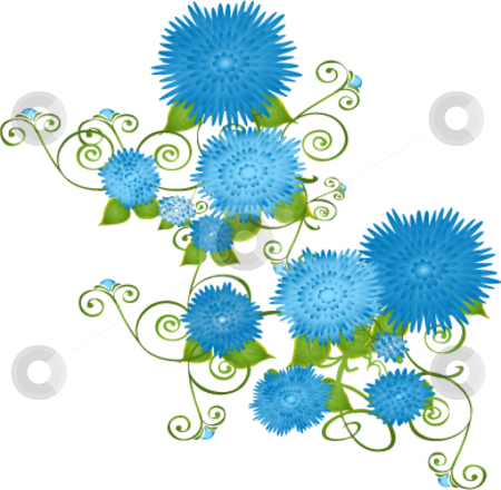 Blue flowers on vines stock vector clipart, Vector illustration blue flowers on vines by Michelle Bergkamp