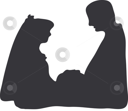 Silhouetted couple stock vector clipart, A silhouetted couple on a white background by Michelle Bergkamp
