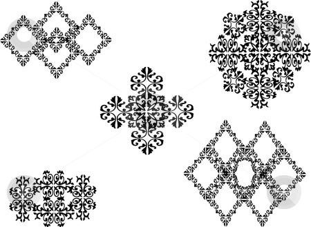 Motifs and inkblots stock vector clipart, Ornamental vector motifs and inkblots by Michelle Bergkamp