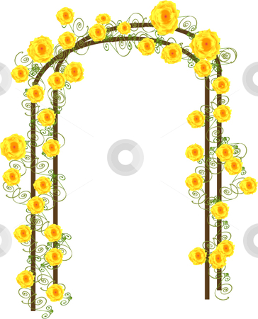 Yellow roses vector on a trellis stock vector clipart, Yellow vector roses vining up on a trellis by Michelle Bergkamp
