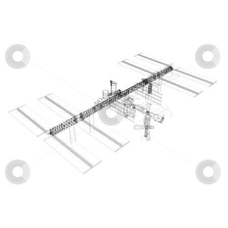 ISS Wire Frame stock photo, A high-resolution wire frame rendering of the International Space Station. Using color selection tools in your image editing application, you can make this image match any color scheme you choose. by Allan Tooley
