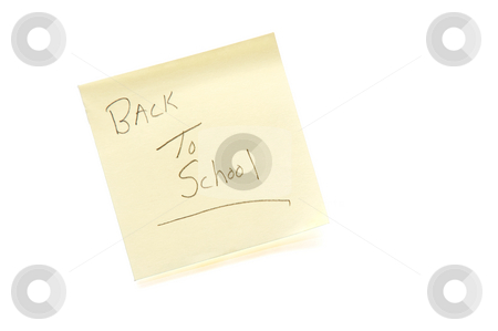 Back to School stock photo, An adhesive note with Back to School written on it. by Robert Byron