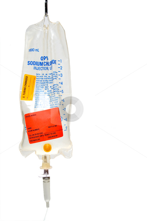 IV Bag stock photo, An IV bag used for the introduction of intravenious fluids. by Robert Byron