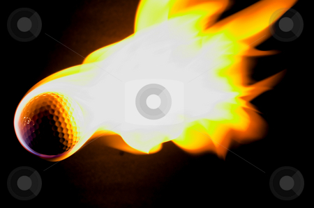 Flaming Golf Ball stock photo, A flaming golf ball rocketing through space. by Robert Byron