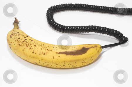 Banana Phone stock photo, A ripe and just picked banana phone. by Robert Byron