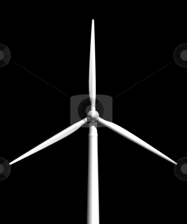 Wind turbine on black front view stock photo, Wind turbine on black background front view 3D image by John Teeter