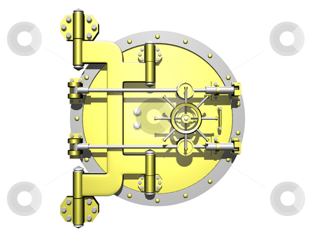 Vault door stock photo, Golden vault door closed on a white background by John Teeter