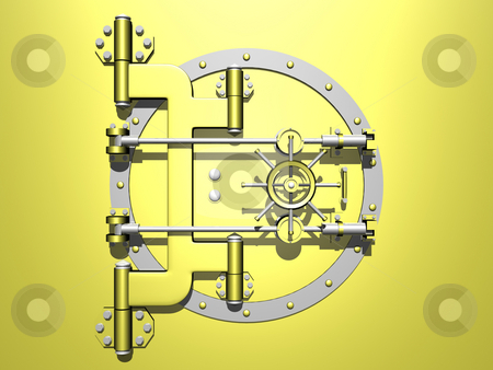 Vault Door stock photo, Golden vault with door closed. 3D image. by John Teeter