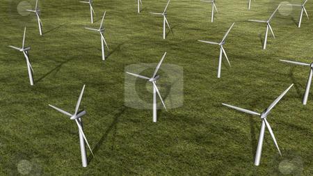 3D wind turbine farm stock photo, 3D wind turbine farm top view by John Teeter