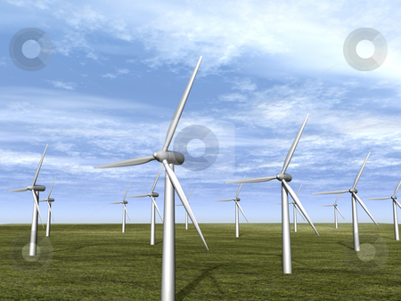 Wind turbine farm in meadow stock photo, Wind turbine farm in meadow. 3D image. by John Teeter