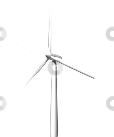 Wind turbine on white background stock photo, Wind turbine on white background. 3D image. by John Teeter
