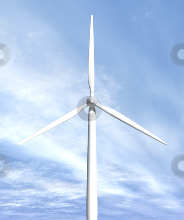 Wind turbine in sky front view stock photo, Wind turbine in sky front view 3D image by John Teeter