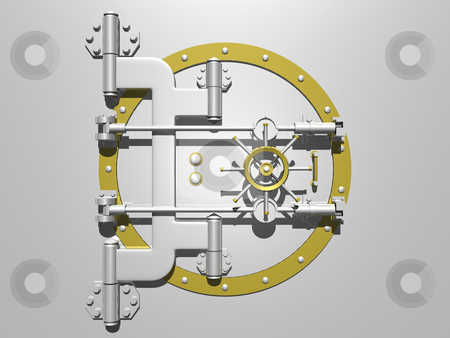 Vault door closed stock photo, Steel vault door closed. 3D image. by John Teeter