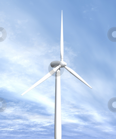 Wind turbine in sky side view stock photo, Wind turbine in sky side view 3D image by John Teeter