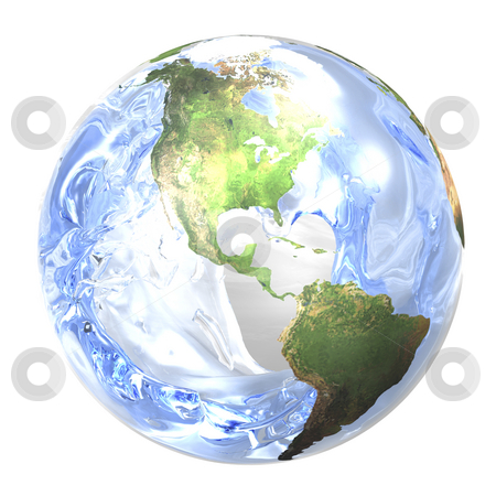 Water in world stock photo, Water splashing in earth. Focus on water. 3D image. by John Teeter