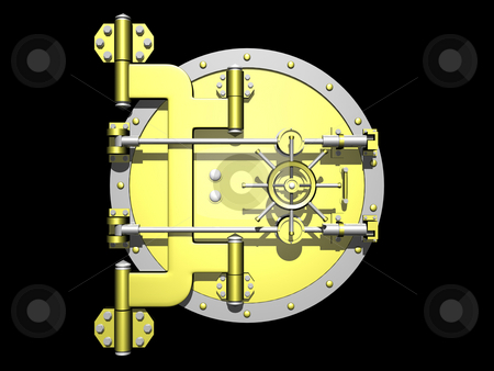 Vault Door stock photo, Golden vault door closed on black background by John Teeter