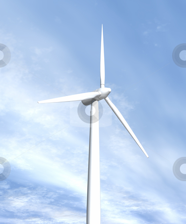 Wind turbine in sky looking up side view stock photo, Wind turbine in sky looking up side view 3D image by John Teeter