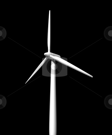 Wind turbine on black background stock photo, Wind turbine on black background 3D image by John Teeter