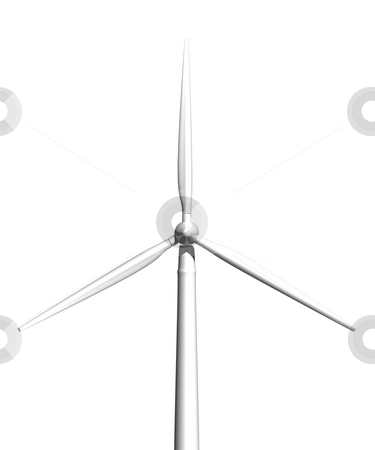 Wind turbine on white front view stock photo, Wind turbine on white background front view 3D image by John Teeter